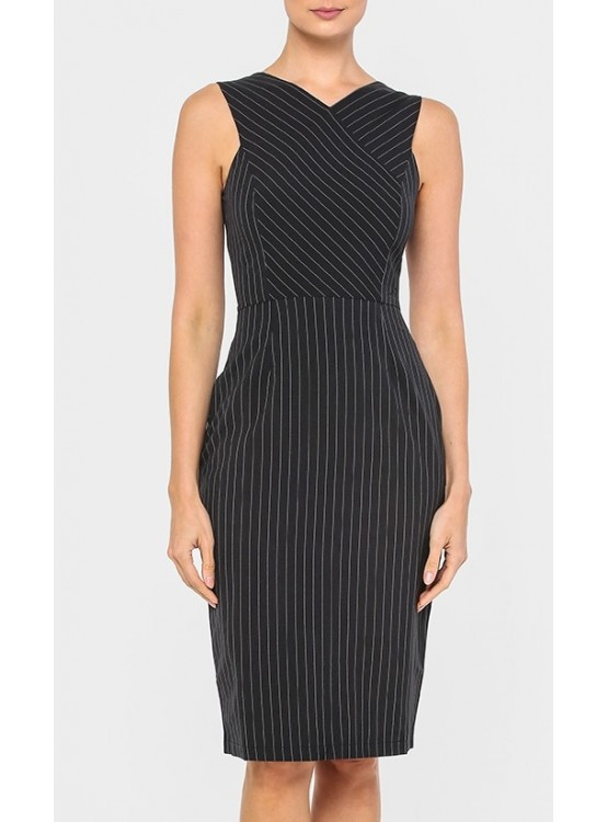 Beyond Hue or You Black Pinstriped Dress